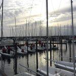 Hafenbereich mit Uni-Jollen in Schilksee